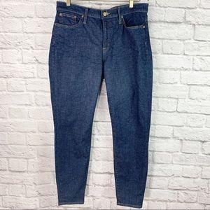 "J Crew 8"" Toothpick Jeans Size 32 Dark Wash"